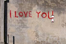I Love You, by Banksy, canvas print.